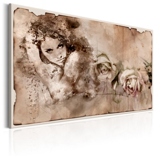 Quadro - Retro Style: Woman and Roses - Quadri e decorazioni