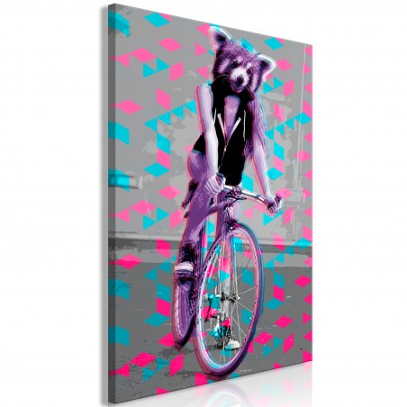 Quadro - Raccoon On The Bike (1 Part) Vertical - Quadri e decorazioni