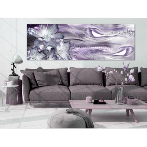 Quadro - Lilies and Waves (1 Part) Narrow Pale Violet - Quadri e decorazioni