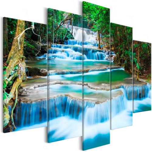 Quadro - Waterfall in Kanchanaburi (5 Parts) Wide - Quadri e decorazioni
