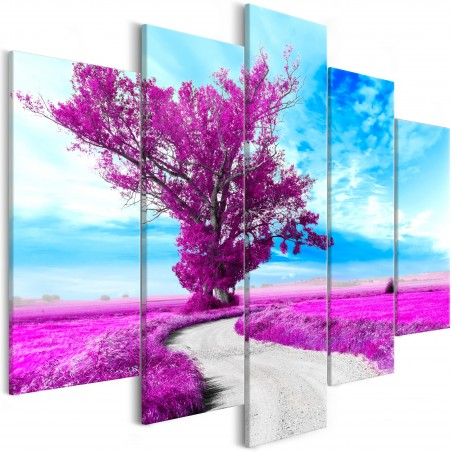 Quadro - Tree near the Road (5 Parts) Violet - Quadri e decorazioni