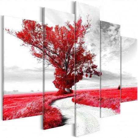 Quadro - Tree near the Road (5 Parts) Red - Quadri e decorazioni