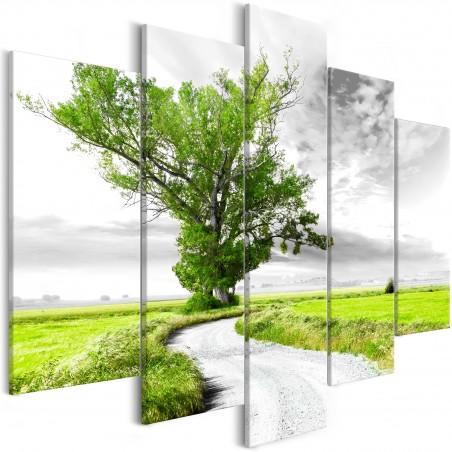 Quadro - Tree near the Road (5 Parts) Green - Quadri e decorazioni