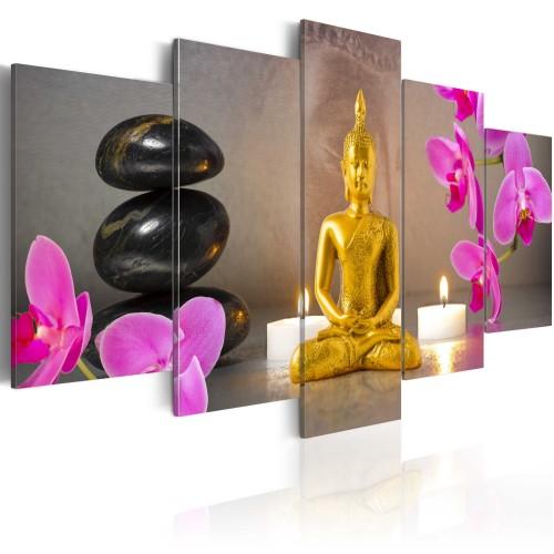 Quadro - Buddha d'oro e orchidee - Quadri e decorazioni