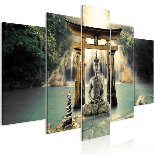 Quadro - Buddha Smile (5 Parts) Wide - Quadri e decorazioni