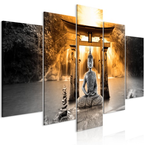 Quadro - Buddha Smile (5 Parts) Wide Orange - Quadri e decorazioni