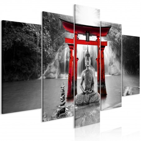 Quadro - Buddha Smile (5 Parts) Wide Red - Quadri e decorazioni