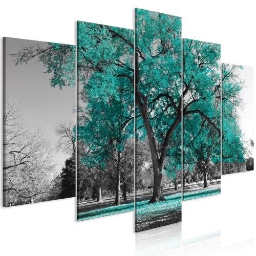 Quadro - Autumn in the Park (5 Parts) Wide Turquoise - Quadri e decorazioni