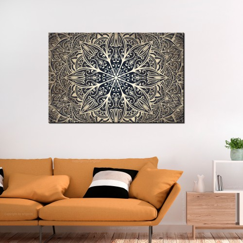 Quadro - Oriental Flowers (1 Part) Narrow Brown - Quadri e decorazioni