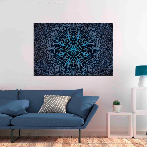 Quadro - Oriental Flowers (1 Part) Narrow Blue - Quadri e decorazioni