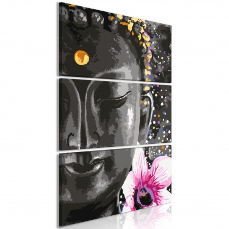 Quadro - Buddha and Flower (3 Parts) Vertical - Quadri e decorazioni