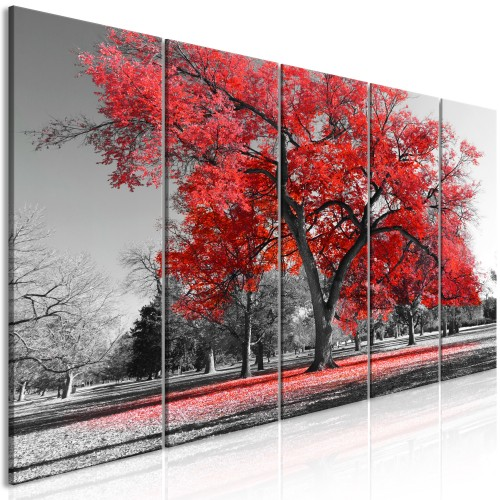 Quadro - Autumn in the Park (5 Parts) Narrow Red - Quadri e decorazioni