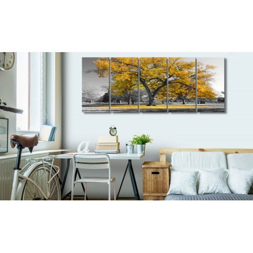 Quadro - Autumn in the Park (5 Parts) Narrow Gold - Quadri e decorazioni