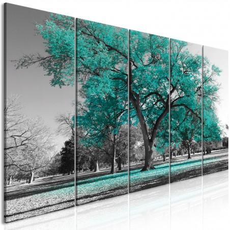 Quadro - Autumn in the Park (5 Parts) Narrow Turquoise - Quadri e decorazioni