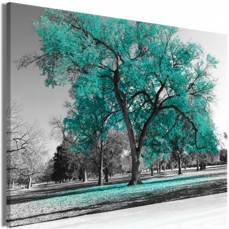 Quadro - Autumn in the Park (1 Part) Wide Turquoise - Quadri e decorazioni