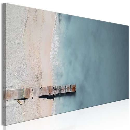 Quadro - Sea and Wooden Bridge (1 Part) Narrow Grey - Quadri e decorazioni
