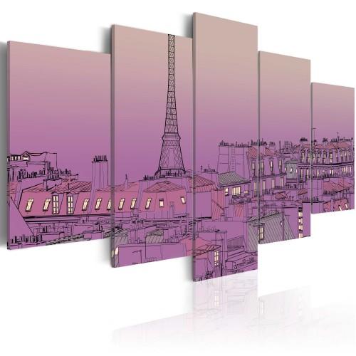 Quadro - Tramonto color lavanda sopra Parigi - Quadri e decorazioni