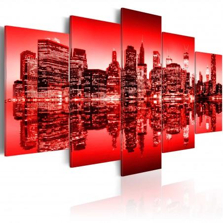 Quadro - Bagliore rosso sopra New York: 5 pezzi - Quadri e decorazioni