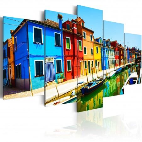Quadro - Case nei colori dell'arcobaleno - Quadri e decorazioni