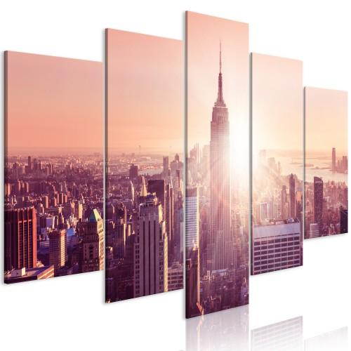 Quadro - Sun over Manhattan (5 Parts) Wide Orange - Quadri e decorazioni