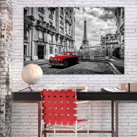 Quadro - Car in Paris (1 Part) Red Wide - Quadri e decorazioni