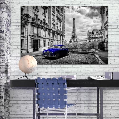Quadro - Car in Paris (1 Part) Blue Wide - Quadri e decorazioni