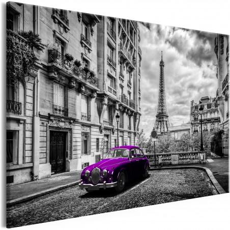 Quadro - Car in Paris (1 Part) Violet Wide - Quadri e decorazioni