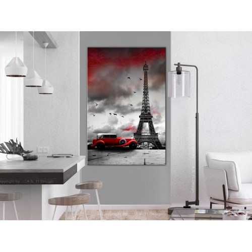 Quadro - Red Car in Paris (1 Part) Vertical - Quadri e decorazioni