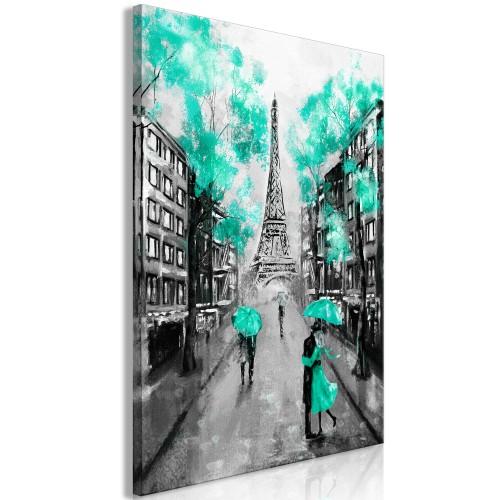 Quadro - Paris Rendez-Vous (1 Part) Vertical Green - Quadri e decorazioni