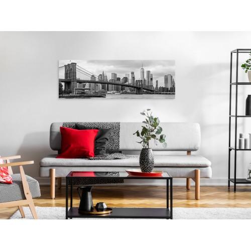 Quadro - Road to Manhattan (1 Part) Narrow Black and White - Quadri e decorazioni