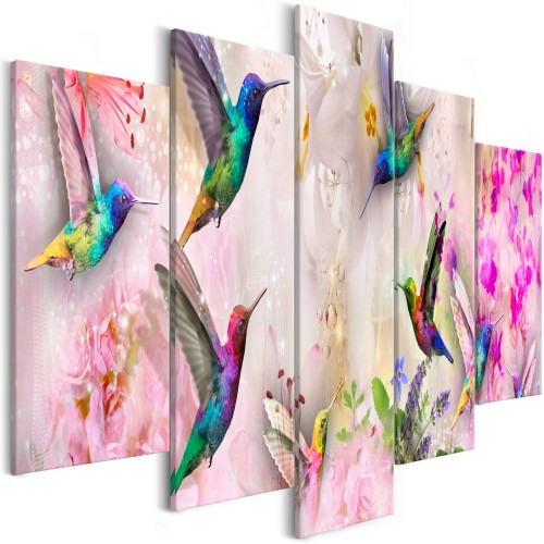 Quadro - Colourful Hummingbirds (5 Parts) Wide Pink - Quadri e decorazioni