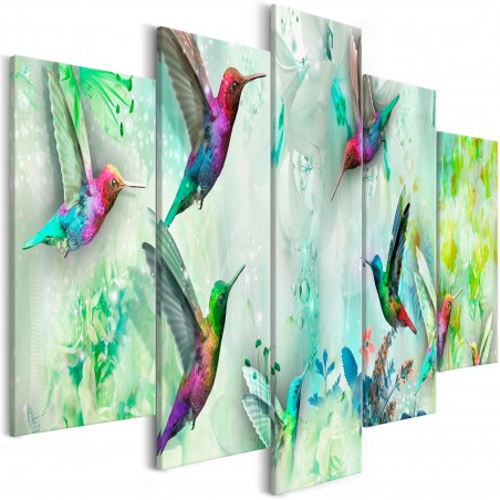 Quadro - Colourful Hummingbirds (5 Parts) Wide Green - Quadri e decorazioni