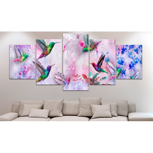 Quadro - Colourful Hummingbirds (5 Parts) Wide Violet - Quadri e decorazioni
