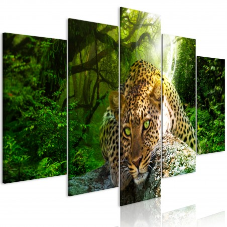 Quadro - Leopard Lying (5 Parts) Wide Green - Quadri e decorazioni