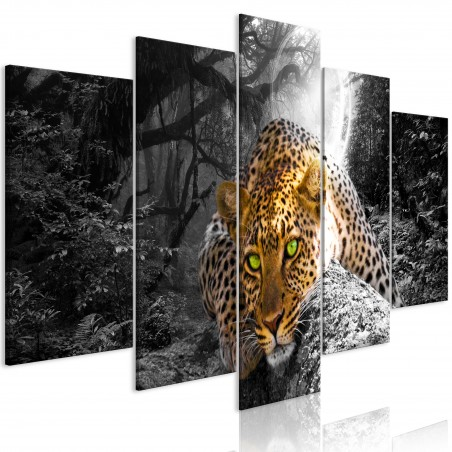 Quadro - Leopard Lying (5 Parts) Wide Grey - Quadri e decorazioni