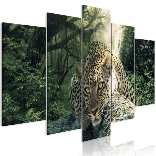 Quadro - Leopard Lying (5 Parts) Wide Pale Green - Quadri e decorazioni