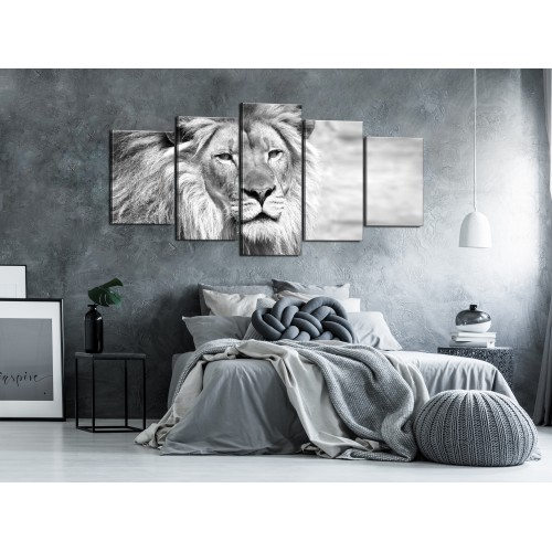 Quadro - The King of Beasts (5 Parts) Wide Black and White - Quadri e decorazioni