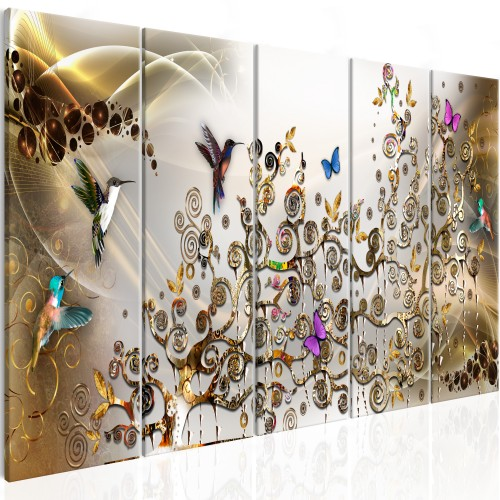 Quadro - Hummingbirds Dance (5 Parts) Gold Narrow - Quadri e decorazioni
