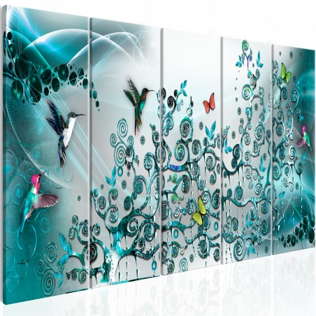 Quadro - Hummingbirds Dance (5 Parts) Turquoise Narrow - Quadri e decorazioni