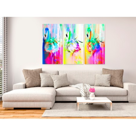 Quadro - Colourful Flamingos (3 Parts) - Quadri e decorazioni
