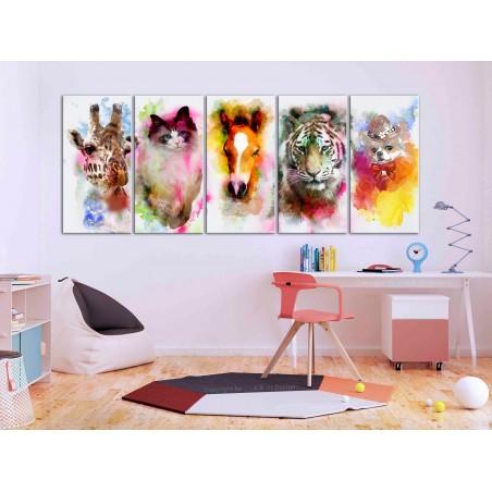 Quadro - Watercolour Animals (5 Parts) Narrow - Quadri e decorazioni