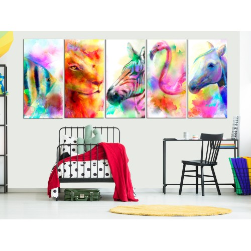 Quadro - Rainbow Watercolours (5 Parts) Narrow - Quadri e decorazioni