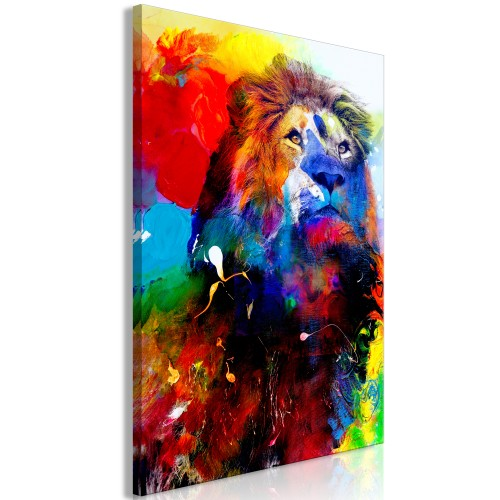 Quadro - Lion and Watercolours (1 Part) Vertical - Quadri e decorazioni