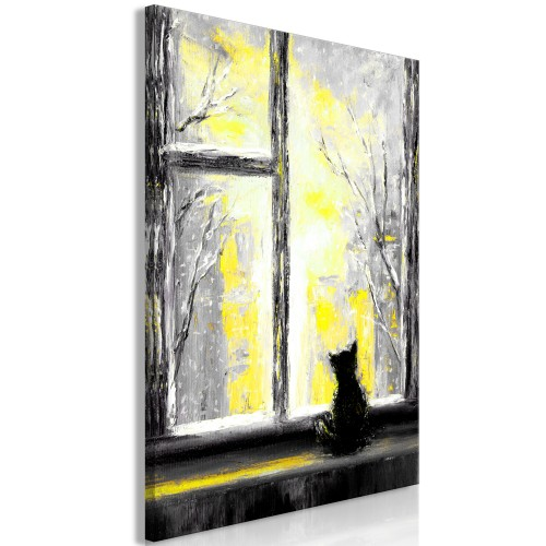 Quadro - Longing Kitty (1 Part) Vertical Yellow - Quadri e decorazioni