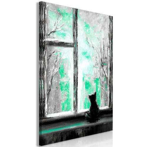 Quadro - Longing Kitty (1 Part) Vertical Green - Quadri e decorazioni