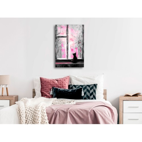 Quadro - Longing Kitty (1 Part) Vertical Pink - Quadri e decorazioni