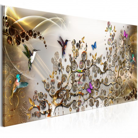 Quadro - Hummingbirds Dance (1 Part) Gold Narrow - Quadri e decorazioni