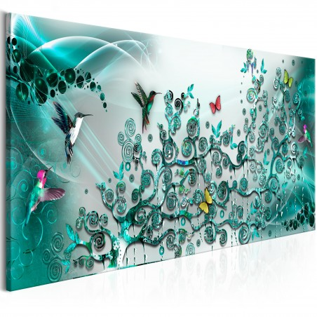 Quadro - Hummingbirds Dance (1 Part) Turquoise Narrow - Quadri e decorazioni