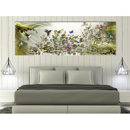 Quadro - Hummingbirds Dance (1 Part) Green Narrow - Quadri e decorazioni
