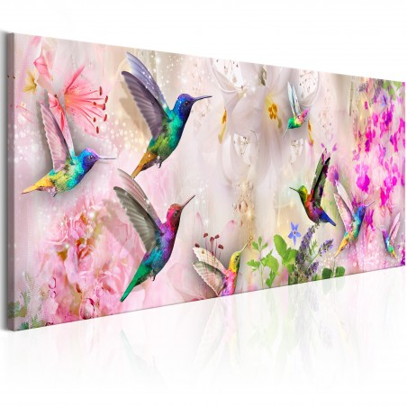 Quadro - Colourful Hummingbirds (1 Part) Narrow - Quadri e decorazioni